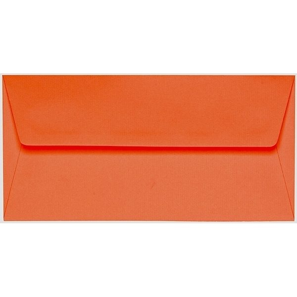 Artoz 1001 - 'Lobster Red' Envelope. 220mm x 110mm 100gsm DL Peel/Seal Lined Envelope.