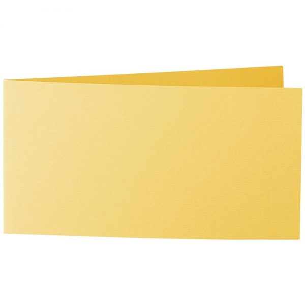 Artoz 1001 - 'Sun Yellow' Card. 420mm x 105mm 220gsm DL Bi-Fold (Short Edge) Card.