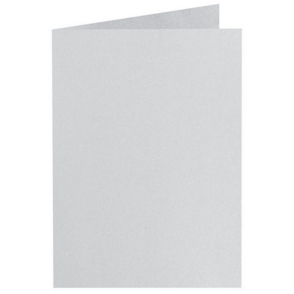 Artoz Perle - 'Silver' Card. 210mm x 148mm 250gsm A6 Folded (Long Edge) Card.
